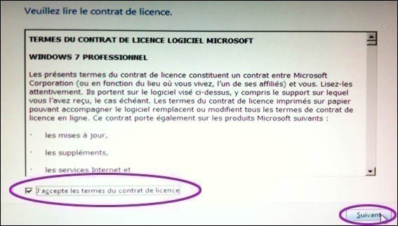 contrat windows 7 installation
