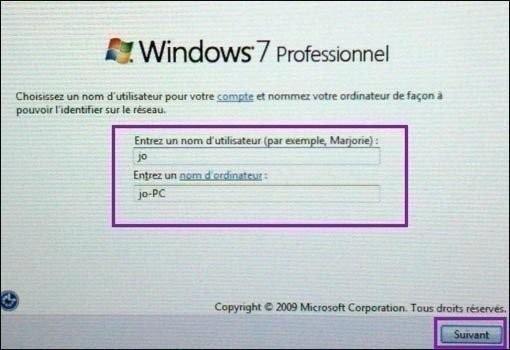 nom utilisateur et ordinateur windows 7