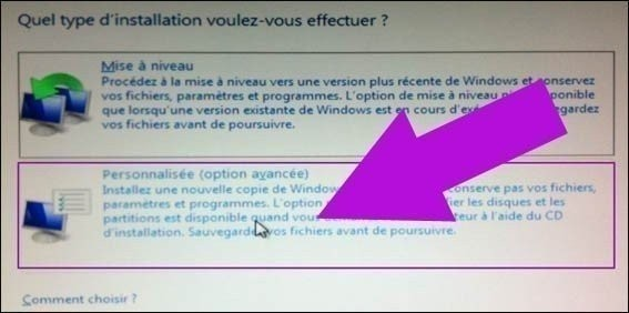 personnalisation de l'installation windows 7