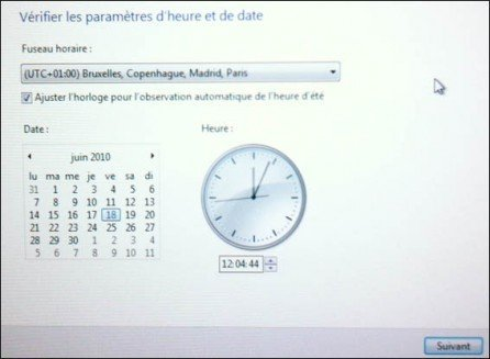 reglage horloge windows 7