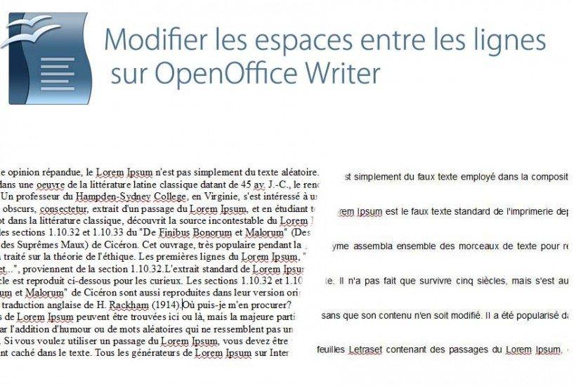 open office espace entre les lignes