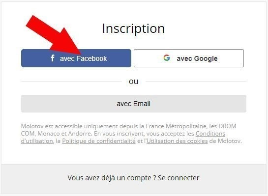 inscription molotov facebook