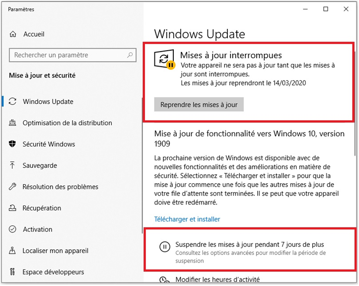 mise a jour windows 10 interrompues