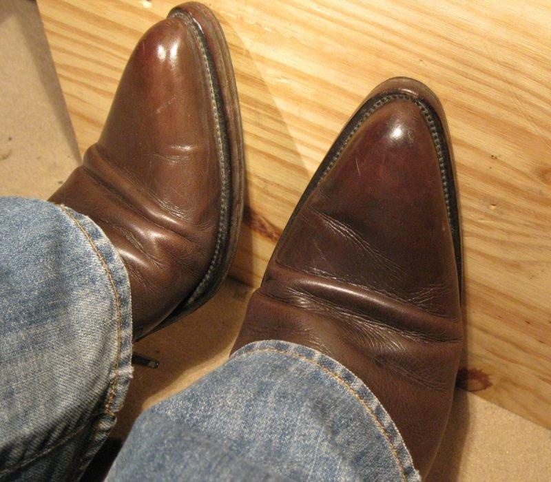 bouts durs chaussures plie