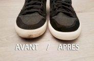 nettoyer semelles blanches des chaussures
