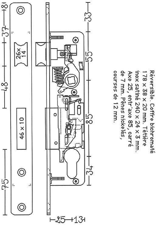 plans de serrure pour portes en aluminium. Black Bedroom Furniture Sets. Home Design Ideas