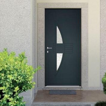 porte d'entrée en aluminium foncé