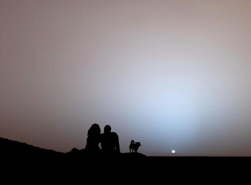 coucher soleil mars couleurs