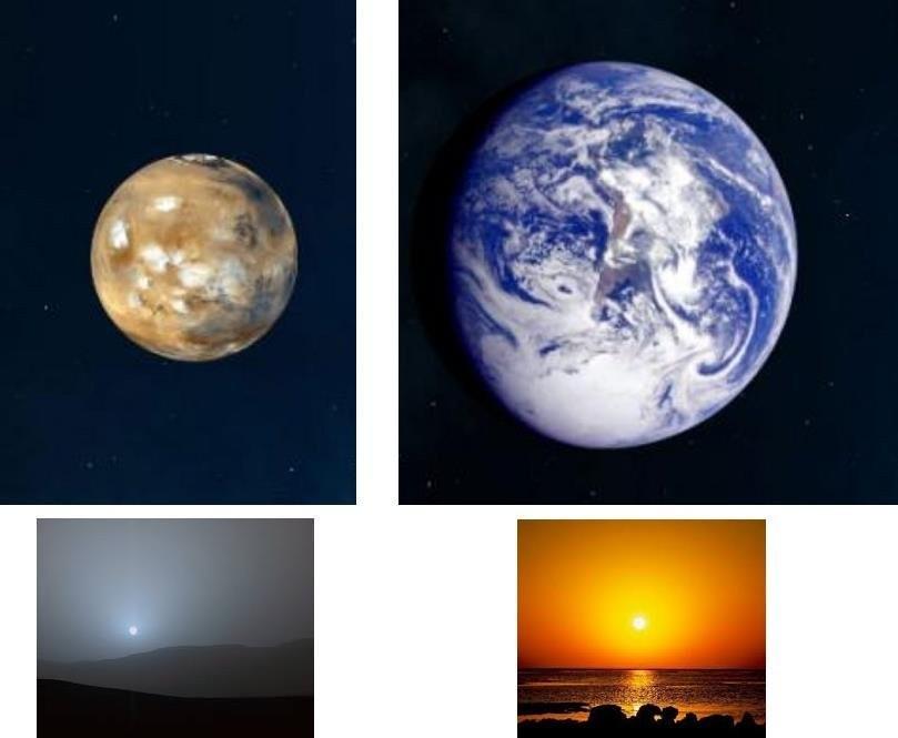 couleur soleil terre mars atmosphere bleu