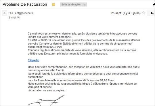 Arnaque faux email de edf