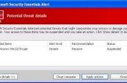Supprimer et se débarasser de Microsoft security essentials alert