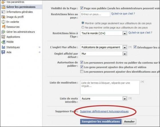 Supprimer une page fan sur facebook 3