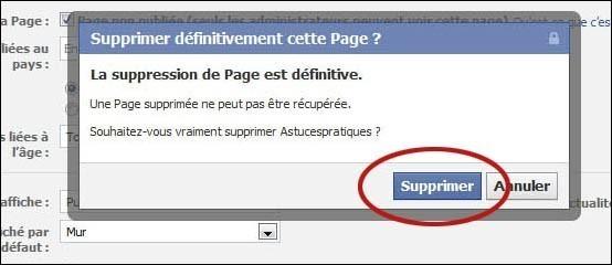 Supprimer une page fan sur facebook 4