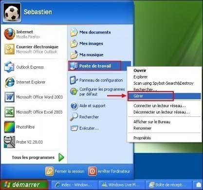 Accéder au gestionnaire de périphériques sous Windows XP