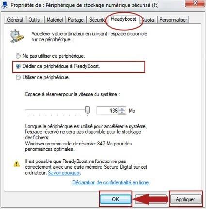 accelerer windows 7 avec une cle usb ou carte sd 2