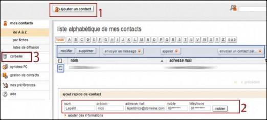ajouter ou supprimer un contact de la boite mail orange 1