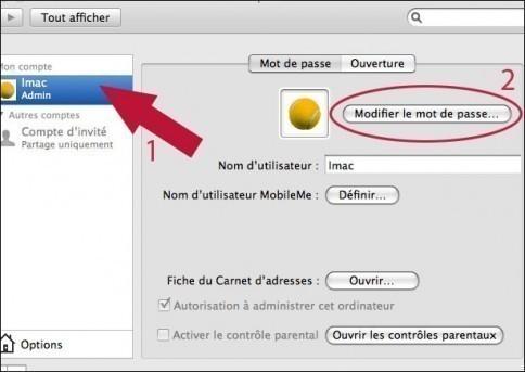 ajouter ou supprimer un mot de passe sur mac osx 2