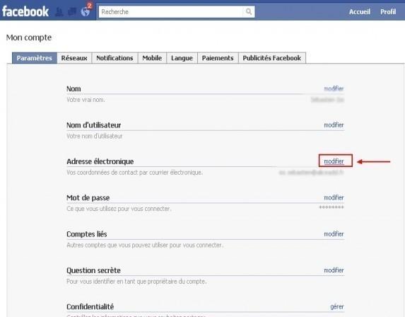 ajouter une adresse email sur facebook 1