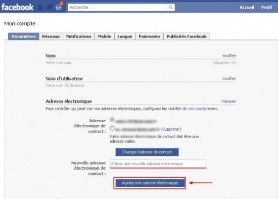 ajouter une adresse email sur facebook 2