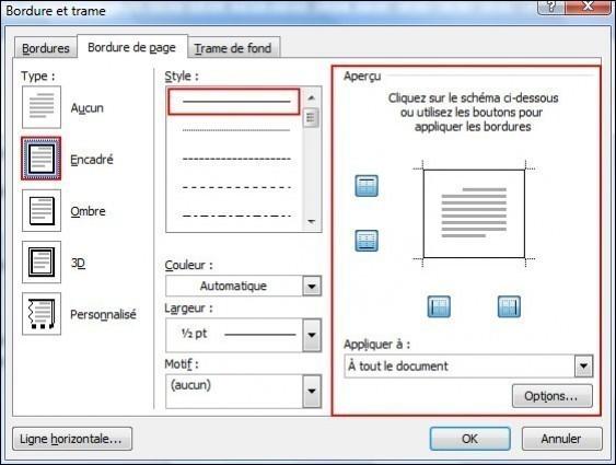ajouter une bordure de page une bordure ou une trame de fond sur office 2007 2
