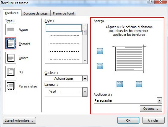 ajouter une bordure de page une bordure ou une trame de fond sur office 2007 4