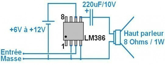 ampli 1w tres simple a 2 composants schema a lm386 2