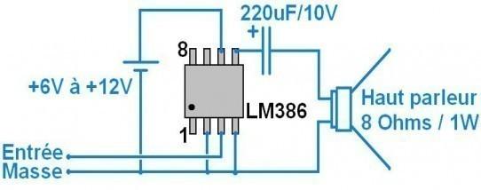 Ampli 1W très simple à 2 composants : schéma à LM386