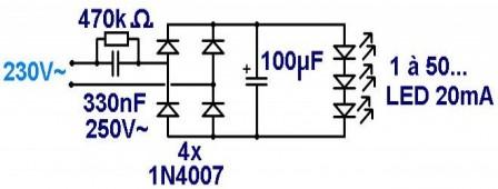 Ampoule à LED : montage à capa chutrice