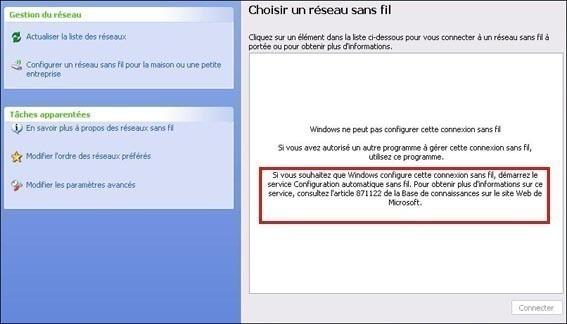 Aucun réseau sans fil wifi détecté sur xp