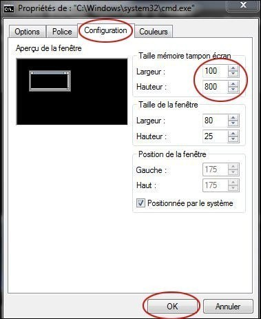 augmenter memoire tampon de l invite de commandes 2