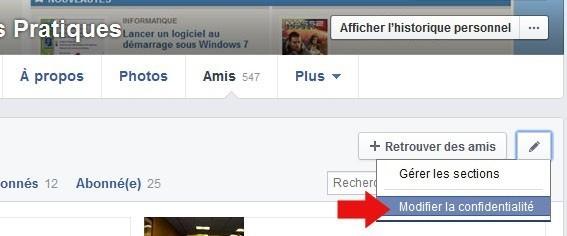 cacher les amis facebook 2