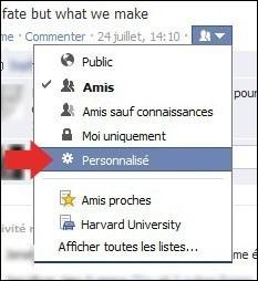 cacher une publication sur facebook 2