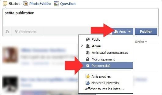 cacher une publication sur facebook
