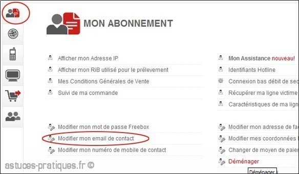 changer l email de contact free 2