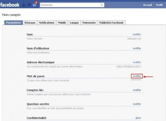 changer son mot de passe facebook 1