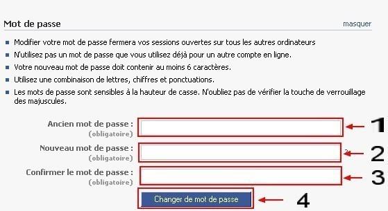 changer son mot de passe facebook 2