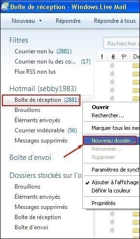 classer ses emails sous windows live mail 0