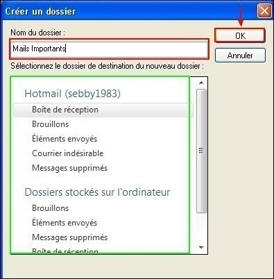 classer ses emails sous windows live mail 1