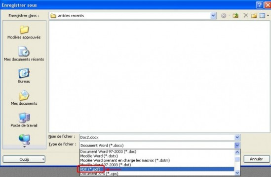 complement microsoft pdf et xps pour office 2007 9