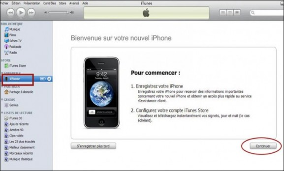 configuration de l iphone avec itunes 0