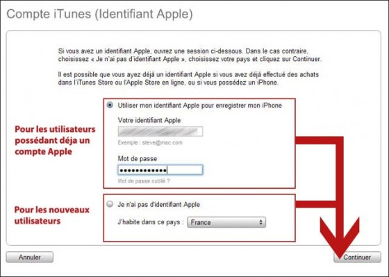 configuration de l iphone avec itunes 1