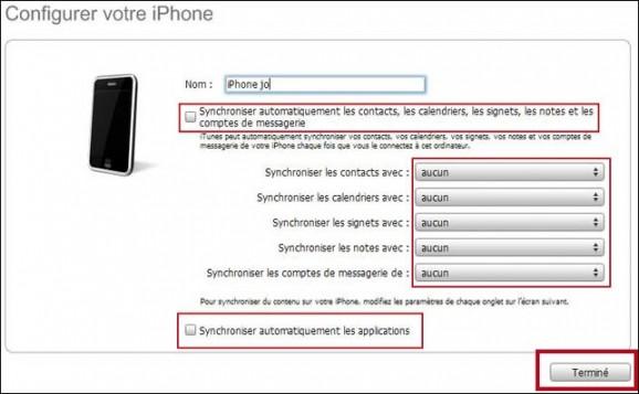 configuration de l iphone avec itunes 3