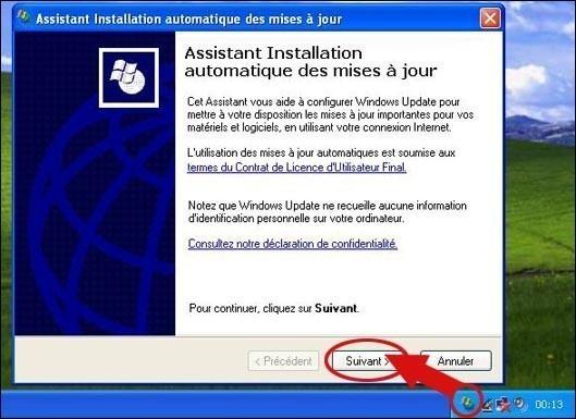 Configurer les mises à jours automatiques sur xp SP1
