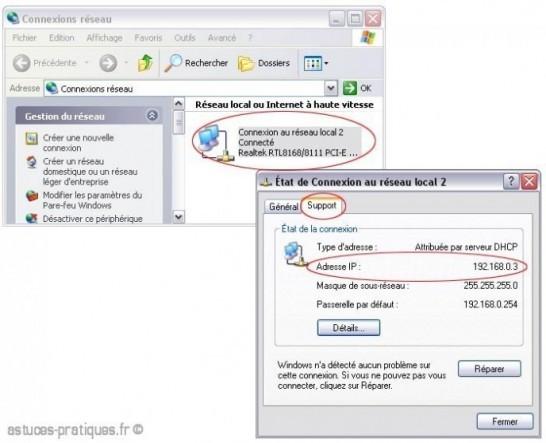 Connaitre son adresse IP locale sur xp