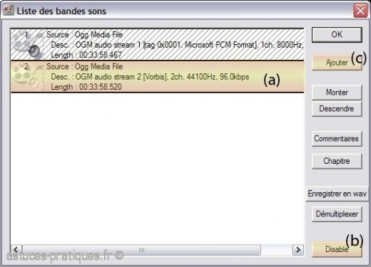 convertir un fichier ogm en avi avec virtualdubmod 1