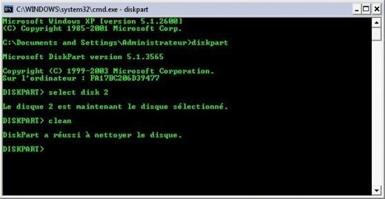 Convertir une partition disque GPT en NTFS