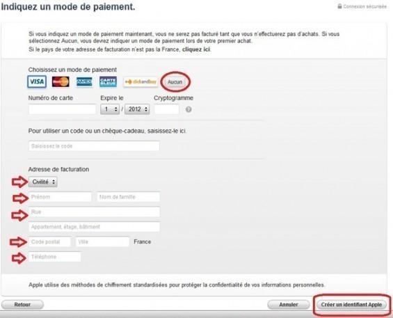 creer un compte iTunes sans carte bancaire 6