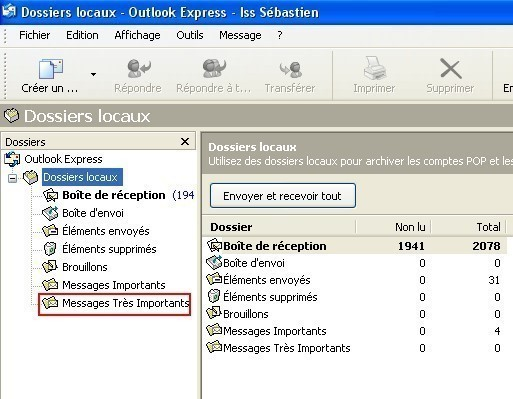 creer un dossier local sous outlook express 2