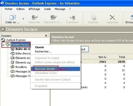 creer un dossier local sous outlook express 0