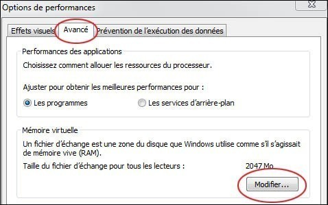 desactiver la memoire virtuelle pour optimiser windows 7 3